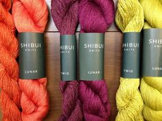"""Shibui Twig and Lunar in (left to right) """"Poppy,"""" """"Imperial,"""" and """"Apple"""" - three """"Crete"""" colorways."""