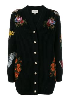 Black and multi-coloured oversized embroidered ribbed wool cardigan Decorated with flora and fauna appliques V-neck Centre front button fastening GG pearl Floral Cardigan, Ribbed Cardigan, V Neck Cardigan, Oversized Cardigan, Holiday Tops, Embellished Top, Long Sweaters, Long Sleeve Tops, Floral Tops