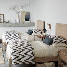 Home Decor – Bedrooms : Organic Chevron Duvet Cover Shams – Slate Romantic Bedroom Decor, Cozy Bedroom, Trendy Bedroom, Home Decor Bedroom, Modern Bedroom, Master Bedroom, Bedroom Neutral, Master Suite, Living Room Decor