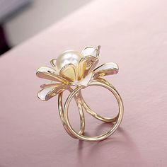 Prsteň na šatku – Biela perla - zlatý