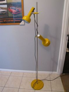 vintage retro oslo floor lamp 1950s - 60s bright yellow ( kartell era )