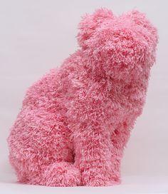 Woolly Woofter / Troy Emery ' high density taxidermy foam, acrylic yarn, 62 x 45 x 37 cm Small Sculptures, Animal Sculptures, Everything Pink, Fuchsia, Troy, Installation Art, Oeuvre D'art, Textile Art, Fiber Art