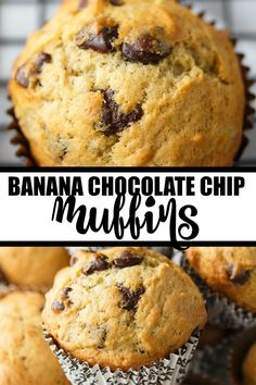 Banana Chocolate Chip Muffins - The perfect way to use up your brown bananas! This easy muffin recipe is incredibly moist and perfectly sweet. Breakfast Items, Breakfast Recipes, Dessert Recipes, Recipes Dinner, Oreo Dessert, Mini Desserts, Oven Recipes, Bread Recipes, Yummy Recipes