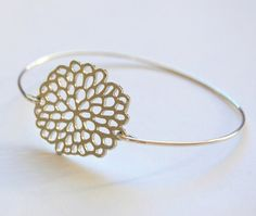 Chrysanthimum Bangle Bracelet Silver Bangle by CorinnaMaggyDesigns, $14.95 Women's Fashion Jewelry and Accessories http://corinnamaggydesigns.com  Wedding I Engagement I Bridesmaid Jewelry I Maid of honor gift I Mother of the bride, groom gift idea