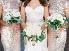 Glamorous Neutral Wedding | Gold Sparkle Bridesmaid Dresses | White Wedding Bouquet