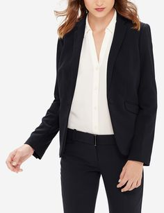 Navy Drew Luxe Classic Flare Pants & Slim Collar Jacket | Womens' Suits | THE LIMITED