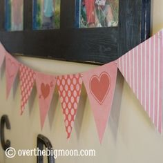Over the Big Moon Free Printable Valentine's Day mix and match bunting