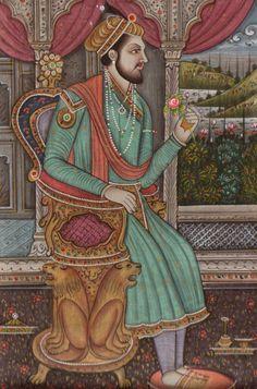 Mughal Miniature Portrait Painting Islamic Script Shah Jahan Art from ArtnIndia