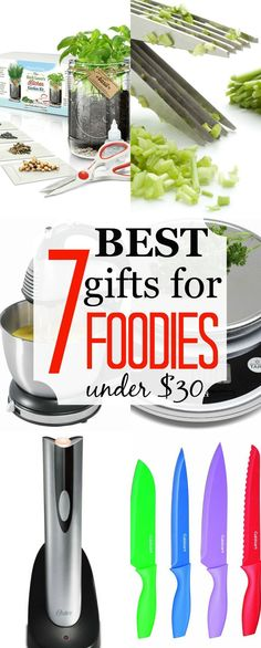 The 7 BEST Gifts for Foodies Under $30, including gizmos, gadgets, & multi-functional necessities. These thoughtful gifts will make any food-lover smile.   strawmarysmith.com