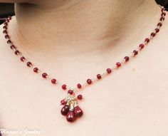 Ruby Necklace Ruby Jewelry Crimson Ruby Cluster by maggiesjewelry #SFEtsyHoliday2012