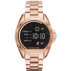 Michael Kors Access Unisex Digital Bradshaw Rose Gold-Tone Stainless... (€335) ❤ liked on Polyvore featuring jewelry, watches, rose gold, digital wrist watch, digital watches, stainless steel digital watches, unisex jewelry and digital wristwatch