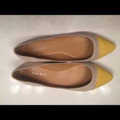 Nine West pointed toe flats Brand new never wore pair of Nine West flats. The main part of the shoe is a canvas type material with a patent yellow cap at the toe. Size 7.5 and fit TTS. Very cute for spring! Nine West Shoes Flats & Loafers