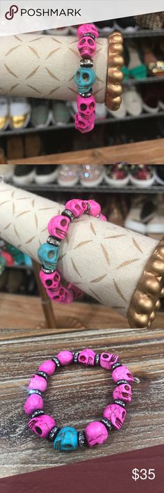 PINK and Teal Custom Skull Bracelet Custom made by me with Swarovski crystal rondel centers. Beautiful pink skulls, with one teal skull for accent. Pieces separately cost over $45. ♥️Well Kept Items🎖Top Rated Seller 🏵Suggested User 📲Accepts Offers 🔁Trades 🛍Bundle and Save⚡️Fast Shipping Jewelry