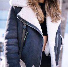 Charcoal grey and white sherling jacket