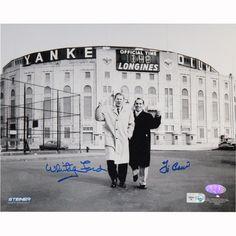 Yogi Berra/Whitey Ford Dual Signed B/W Standing Outside Original Yankee Stadium 8x10 Photo ( MLB Auth)