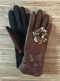 """Fashionable brown leather """"smart gloves"""" by OhSoGlovely on Etsy"""