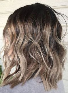 ash blonde balayage Ash blonde lob hairstyle for spring 2018 gradually transitions to light brown Hair Color Balayage, Hair Highlights, Ashy Balayage, Lob Ombre, Silver Highlights, Balayage On Brunette Hair, Short Hairstyles With Highlights, Low Lights And Highlights, Balayage On Short Hair