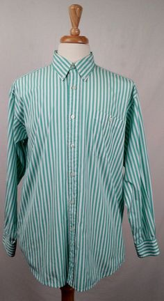 Orvis mens shirt large long sleeve button front green and white striped EX used #Orvis #ButtonFront