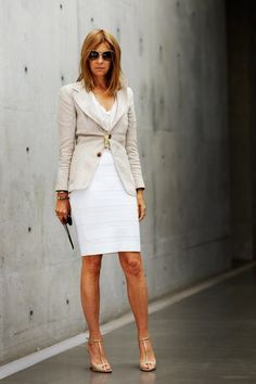 Carine Roitfeld. Love the creme and white. A great blazer put over a white dress.