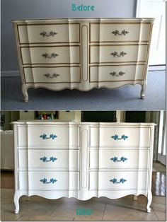 this is almost the EXACT same dresser/furniture set I just bought from a friend. I plan to paint it while - shabby-chic it.  I brought it home TONIGHT and wondered...is it okay? Do I HAVE to paint it?  But this drastic difference tells me YES.  Wow.