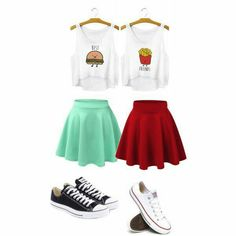 Cute BFF outfit Source by intparakazanmak outfits for teens Funny Outfits, Teenage Outfits, Komplette Outfits, Cute Casual Outfits, Outfits For Teens, Twin Outfits, Matching Outfits Best Friend, Best Friend Outfits, Best Friend Clothes