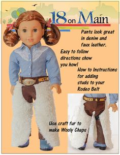 """Cowgirl Ranch Chaps 18"""" Doll Clothes"""
