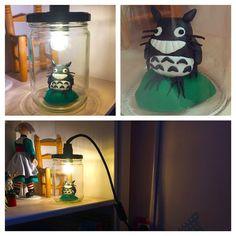 Lampe bocal Totorro #diy #ChristopheMoi Totoro, Instagram Posts, Diy, Handmade, Mason Jar Lamp, Illustrator, Cabin, Hand Made, Bricolage