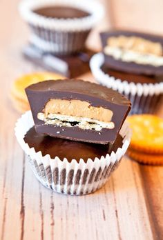 Ritz Cracker Stuffed Peanut Butter Cups. Taking homemade PB Cups to puffy & crunchy heights. No-Bake, easy, and vegan.