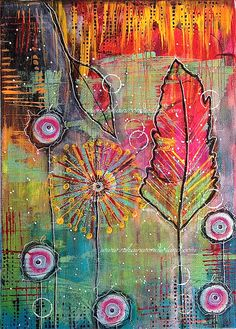 Original Mixed Media Painting  Feather Canvas  by NikaInWonderland