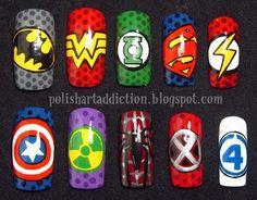 Superhero nails by Polish Art Addiction Fancy Nails, Love Nails, Pretty Nails, Superhero Nails, Superhero Party, Marvel Nails, Acryl Nails, Disney Nails, Super Nails