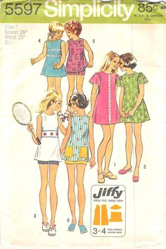 SIMPLICITY 5597 - FROM 1973 - UNCUT - CHILDS AND GIRLS JIFFY DRESS OR TUNIC AND SHORTS