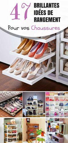 C'est très important que toutes mes chaussures soient bien rangées ! Ça me permet de trouver n'importe quelle paire quand j'en ai besoin. Toutes femmes, et de plus en plus d'hommes savent qu'ils peuvent être rapidement débordés par leur collection de chaussures, surtout si vous avez une grande famille. Big Closets, Home Fix, Diy Organization, Organizing, Smart Home, Home Projects, Shoe Rack, Life Hacks, House Design