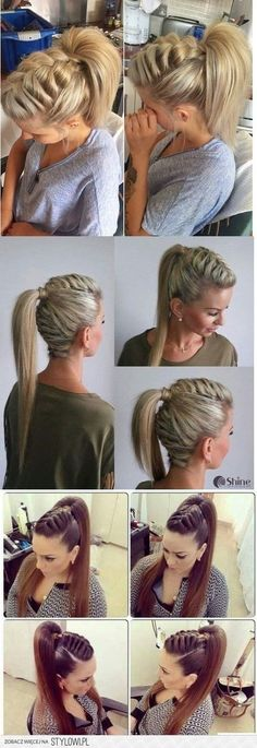 Twisted Crown Braid - 38 Quick and Easy Braided Hairstyles - The Trending Hairstyle Ponytail Hairstyles, Pretty Hairstyles, Girl Hairstyles, Wedding Hairstyles, Natural Hair Styles, Short Hair Styles, Viking Hair, Hair Dos, Hair Hacks