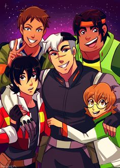 Five Voltron Team Trio- Shiro, Keith, Pidge, Lance and Hunk from Voltron Legendary Defender