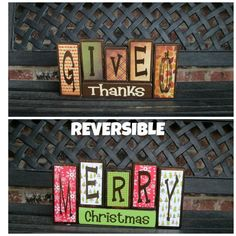 Reversible Christmas and Thanksgiving wood blocks-XL Give thanks reverses with Merry Christmas