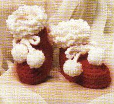 Baby crochet santa booties.. How cute especially since new grand babies on the way..
