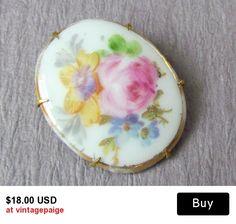Vintage Porcelain Flower Pin