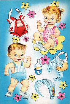 Another baby set by Saalfield, Baby paper Dolls, #1382. I actually had this set so I know it was probably published in th late 50s or early 60s.