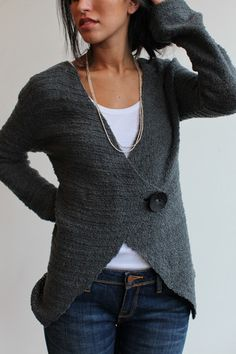 Sweater - I wonder if I could make something like this out of old felted wool sweaters?