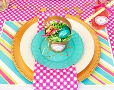 kids table setting - love the bright colors
