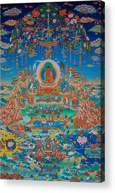Glorious Sukhavati Realm Of Buddha Amitabha Wood Print by Art School Old Cemeteries, Thing 1, Buddha Art, Angel Statues, Acrylic Sheets, Celebration Quotes, Decorating Small Spaces, Tantra, Architecture