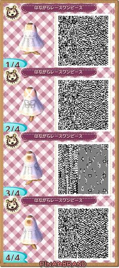 Floral lace dress Qr Code Animal Crossing, Animal Crossing Qr Codes Clothes, Acnl Paths, Happy Home Designer, New Leaf, Animal Games, Coding, Motif Acnl, Floral Lace