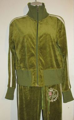 Juicy Couture Green Velour Crown Tracksuit-Size Lg. Starting at $60 on Tophatter.com!