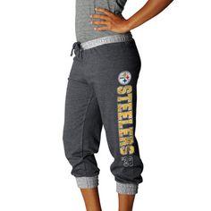 Pittsburgh Steelers Charcoal Women's Sport Princess II Cropped Fleece Pant