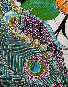 Peacock Among Flowers - Batik Wall Hanging - Tapestry Batik Art - Hand made of cotton, batik, fabric photo 5/5