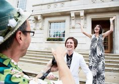 Catherine & Sue - Wedding Photography at The West Reservoir Centre, Hackney Wedding, hackney town hall, couple, laugh, wedding guest