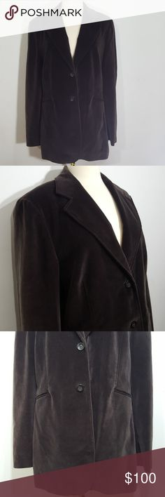 St. Emile Brown Velvet Blazer - 14 This is a size 14 brown velvet blazer from St. Emile. Normal wear. No stains or tears. All buttons are attached. There are button marks from storage that should come out. Pockets are still sewn shut. Lovely floral patterned lining. 95% cotton & 5% elastane.  Bundle & save. St. Emile Jackets & Coats Blazers