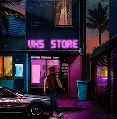 "Neon aesthetic, 80s ""VHS Store"""