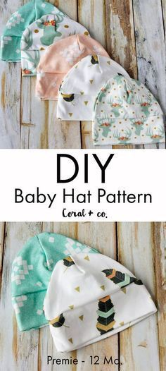 DIY Baby Hat Sewing Pattern and Tutorial in sizes Preemie - 12 Months.