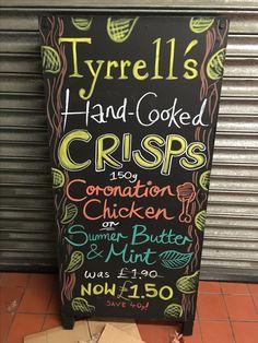 Tyrells Handcooked Crisps @ Chiswick - June 2016  #asnatureintended #chalkboard #art #promo #advert #chalkboardart
